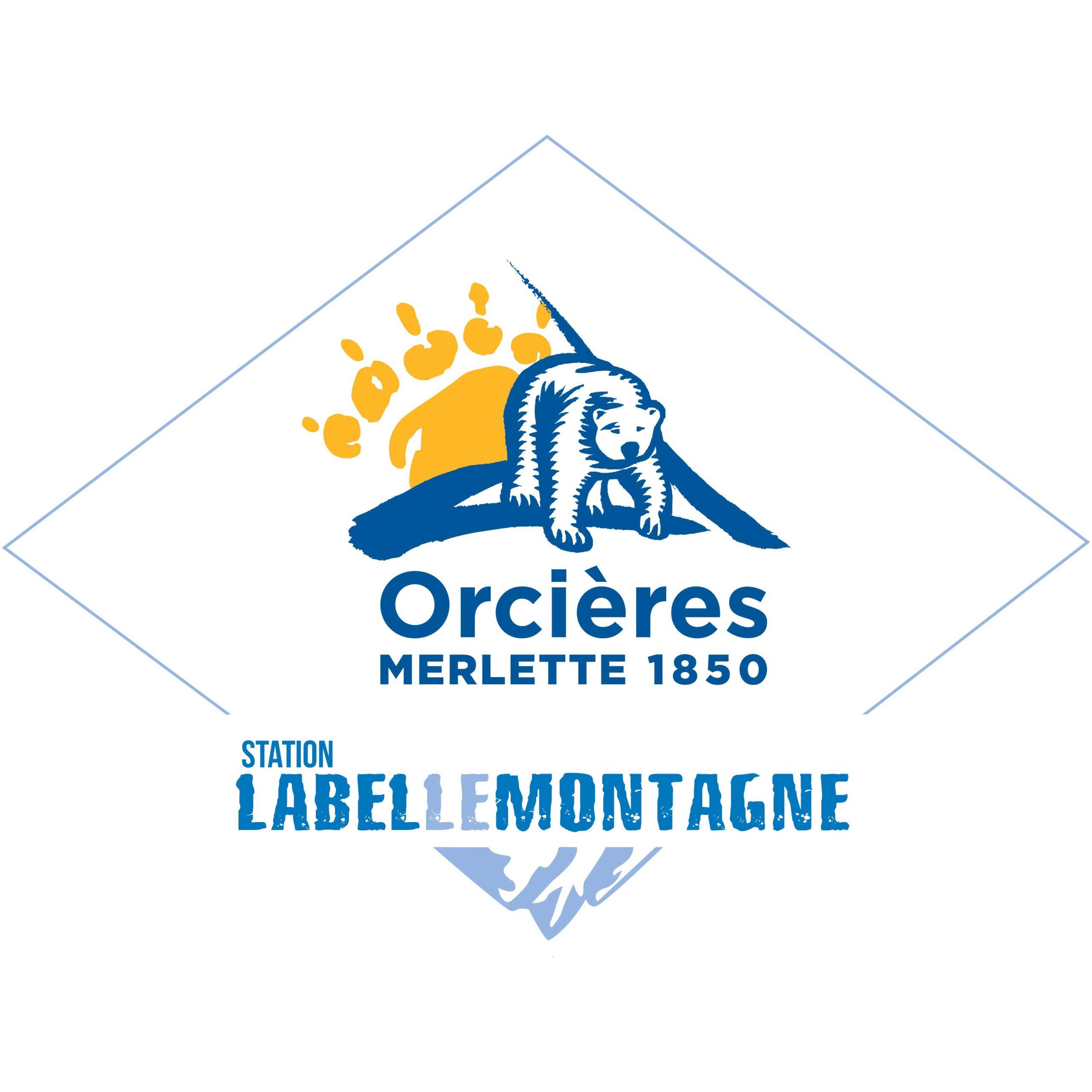 Logo Orcières Merlette La Belle Montagne 1850 Champsaur Hautes Alpes Alpi Traineau Chiens de traineaux